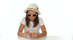 Pretty young girl picking up the phone Stock Footage