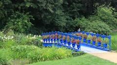 Bridge in the Muskau park - famous English garden in Europe. Park Muzakowski Stock Footage