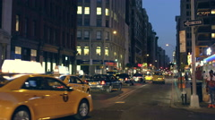 Manhattan Traffic Broadway Driving Taxi Cabs Taxicabs New York City NYC 4K Night - stock footage