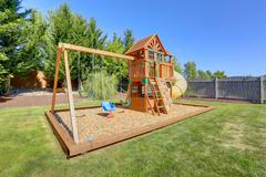 playground for kids on backyard - stock photo