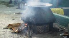 Cooking stove at Rural village Stock Footage