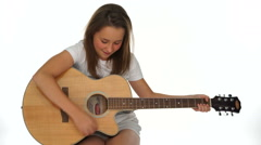 Young girl with her guitar Stock Footage
