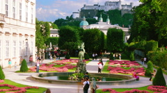Famous Mirabell Gardens,in Salzburg, Austria.time lapse, 4k. Stock Footage