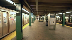 MTA Subway Train Departing Station Platform New York City NYC 4K West 4th Stock Footage