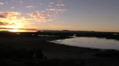Peru Lake Titicaca golden clouds illuminated at sunset  Stock Footage