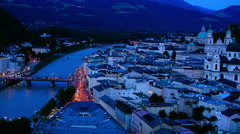 Salzburg aerial view.Twilight and sunset, time lapse. Stock Footage