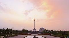 Stele with the emblem Tajikistan. Dushanbe. 4K Stock Footage