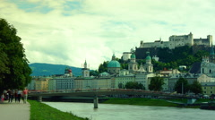 Salzburg cityscape in a summer day, time lapse,4k Stock Footage