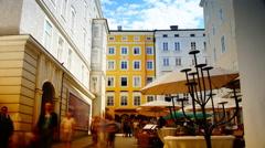 Getreidegasse no.9 Birthplace of W. A. Mozart.Time lapse,4k. Stock Footage