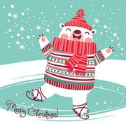 Christmas card with cute polar bear on an ice rink. - stock illustration
