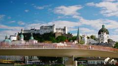The Makartsteg bridge is a pedestrian bridge in the city of Salzburg. Stock Footage