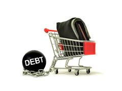 Debt ball chained to cart with wallet Stock Photos