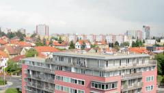 City (buildings) - modern block of flats - cloudy sky Stock Footage
