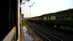 Train arrives at Bangkok Railway Station Stock Footage