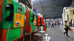 Phones at Hua Lamphong Railway Public Station Stock Footage