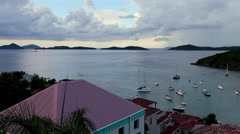 A beautiful morning view of St. Johns Harbor of the United States Virgin Islands - stock footage