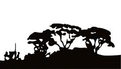 african scenery silhouette - stock illustration