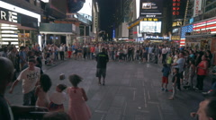 Times Square Tourists People Crowded Crowd Busy New York City NYC USA 4K Night - stock footage