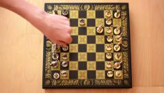 Chess - Two men play a chess - hands Stock Footage