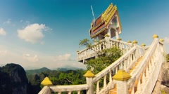 Timelapse. View of Buddhist Wat Tham Seua (Tiger Cave) temple Stock Footage
