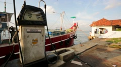 Fuel station for boats. Stock Footage