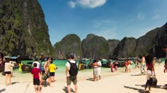 Timelapse. Tourists at Maya bay Phi Phi Leh island Stock Footage