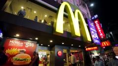 McDonald's Restaurant exterior. Stock Footage