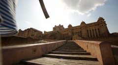 backpacker visits Amber Fort - stock footage