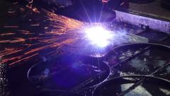 Welding, sparks, steel, metal, plant, manufactoring Stock Footage