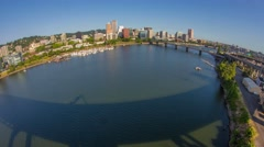 Portland Citycenter Waterfront Fisheye 719 Stock Footage