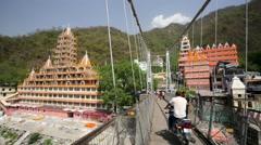 View of Rishikesh city Stock Footage