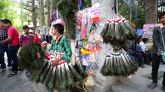 Vendor sells peacock feathers Stock Footage