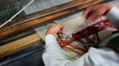 Weaver working handloom Stock Footage