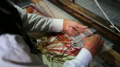 Weaver working handloom Stock Footage