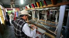 Weaver work handloom Stock Footage