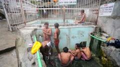 Vashisht hot water springs Stock Footage