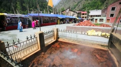 Hot spring on a street. Stock Footage
