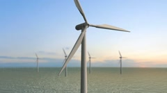 Wind turbine - Offshore - the green energy - stock footage