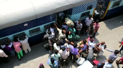 People at thei rail station. Stock Footage