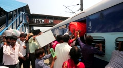 People at thei rail station. - stock footage
