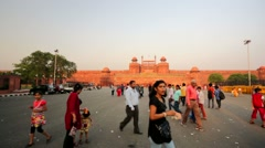 People visit Red Fort. Stock Footage
