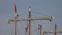 4k Tall ship mast with tripple X flag in Hamburg harbour Stock Footage