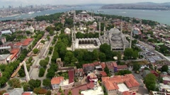 Istanbul Airview from helicopter, Blue Mosque and Hagia Sophia Stock Footage