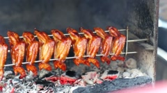 Chicken wings on grill Stock Footage
