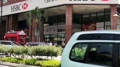 HSBC Bank branch Stock Footage