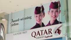 Qatar Airways office exterior. Stock Footage