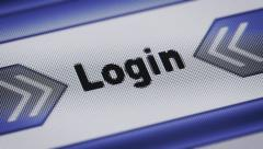 """Login"" on the screen. Looping. Stock Footage"