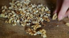 Cutting walnuts Stock Footage