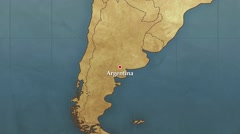 World Map Argentina Point Zoom In Stock Footage