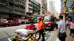 Ambulance car and emergency workers Stock Footage
